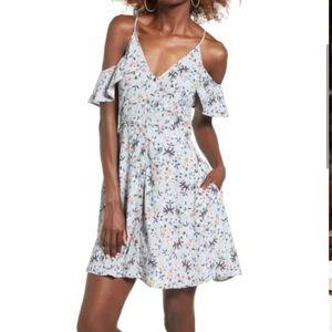 ASTR the Label Floral Print Cold Shoulder Dress